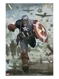 Captain America 615 Cover: Captain America Running with his Shield Prints by Daniel Acuna