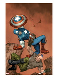 Ultimate Captain America #3 Cover: Captain America and Frank Simpson Fighting and Falling Posters van Ron Garney