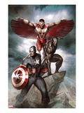 Captain America: Hail Hydra No.3 Cover: Captain America, Black Panther, and Falcon Print by Adi Granov