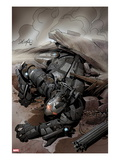 Iron Man 2.0 No.2 Cover: War Machine Falling Art by Salvador Larroca