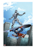 Marvel Adventures Spider-Man 19 Cover: Silver Surfer and Spider-Man on the Silver Surf Board Prints by Ale Garza
