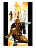 Ultimate X-Men 1 Cover: Wolverine, Kitty Pryde, Human Torch, and Iceman Art by Kaare Andrews