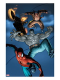 Fear Itself: Fearsome Four 2: Spider-Man, Hulk, Wolverine, and Ghost Rider Jumping Prints by Simon Bisley