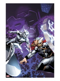 The Mighty Thor No.4 Cover: Silver Surfer and Thor Fighting Prints by Olivier Coipel