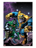 Avengers & The Infinity Gauntlet No.4 Cover: Thanos and Dr. Doom Fighting Art by Brian Churilla