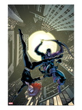 Marvel Adventures Super Heroes 17 Cover: Black Widow and Hawkeye Jumping Posters by Barry Kitson