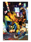 Wolverine No.303 Cover: Sabretooth and Wolverine Fighting Poster by Brandon Peterson