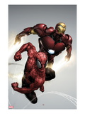 Carnage No.1 Cover: Spider-Man and Iron Man Flying Poster von Clayton Henry