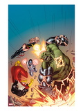 Avengers No.15 Cover: Hulk, Spider Woman, Ms. Marvel, and Protector Smashing, Jumping and Flying Print by Ed McGuinness