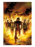 Chaos War: X-Men 1 Cover: Thunderbird and Banshee Walking in Flames Print by Carlo Pagulayan
