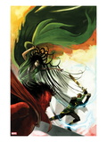 Journey Into Mystery 624 Cover: Loki, Hela, and Mephisto Fighting Print by Stephanie Hans