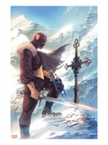 Captain America No.608 Cover: Baron Zemo Standing with a Sword in the Snow Prints by Marko Djurdjevic