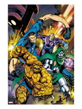 Fantastic Four 582 Cover: Thing, Mr. Fantastic, and Dr. Doom Running and Charging Art by Alan Davis