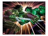 Incredible Hulk 611 Cover: Skaar and Hulk Fighting Poster von John Romita Jr.