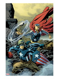 Free Comic Book Day 2011 (Thor The Mighty Avenger) No.1 Cover: Captain America and Thor Poster by Chris Samnee