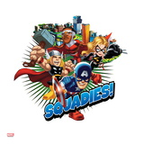 Marvel Super Hero Squad Badge: Squadies! Falcon, Ms. Marvel, Captain America, and Thor Flying Prints