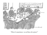 """Then it's unanimous—we all have the cojones!"" - New Yorker Cartoon Giclée-Premiumdruck von Michael Crawford"