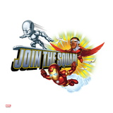 Marvel Super Hero Squad Badge: Join the Squad! Iron Man, Falcon, and Silver Surfer Flying Affiches