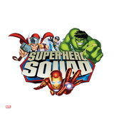 Marvel Super Hero Squad Badge: Wasp, Hulk, Iron Man, and Thor Flying Affiche