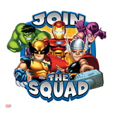 Marvel Super Hero Squad Badge: Join the Squad - Hulk, Wolverine, Iron Man, Thor, and Hawkeye Posing Posters