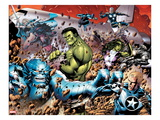 Incredible Hulks 614: A-Bomb, Hulk, Red She-Hulk, Valkyrie, Steve Rogers, She-Hulk, and Nova Poster by Barry Kitson