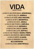 Vida por Madre Teresa Poema Poster