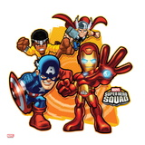 Marvel Super Hero Squad Badge: Iron Man, Captain America, Thor, and Luke Cage Posing Poster