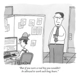 """""""But if you were a real boy you wouldn't be allowed to work such long hour - New Yorker Cartoon Premium Giclee Print by Peter C. Vey"""