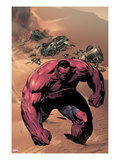 Hulk No.42 Cover: Red Hulk Walking up a Dune Prints by Patrick Zircher