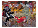 Avengers 4: Thor and Galactus Flying and Fighting Art by John Romita Jr.