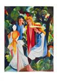 Vier Mädchen,1912 - 913 Prints by August Macke