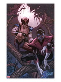 Wolverine Weapon X #16 Cover: Nightcrawler and Wolverine Crouching in a Tree at Night Poster van Ron Garney