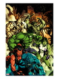 Incredible Hulk 612 Cover: A-Bomb, Red She-Hulk, She-Hulk, Hulk, Skaar, and Bruce Banner Standing Art by Carlo Pagulayan