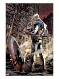 Ultimate Fallout No.6 Cover: Captain America Standing, Looking at his Shield Poster by Bryan Hitch