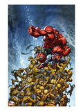 Avenging Spider-Man No.2 Cover: Spider-Man and Red Hulk Fighting Moloids Poster von Joe Madureira
