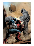 Marvel Adventrues Super Heroes No.5 Cover: Captain America and Rhino Fighting Prints by Clayton Henry