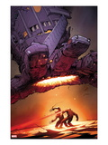 X-Men: Schism 5 Cover: Wolverine and Cyclops Fighting with Sentinel Overhead Print by Adam Kubert