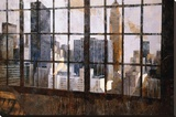 Window Over Empire State Stretched Canvas Print by Marti Bofarull