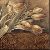 Copper Tulips II Stretched Canvas Print by Linda Thompson
