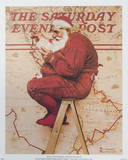 Santa at the Map Art by Norman Rockwell