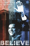 Obama: Believe Stretched Canvas Print by Keith Mallett
