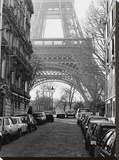 Street View of La Tour Eiffel Stretched Canvas Print by Clay Davidson