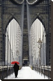 Brooklyn Bridge Meets Red Stretched Canvas Print by Michael Cahill