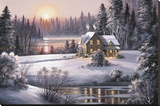 Winter Sunset Stretched Canvas Print by Dubravko Raos
