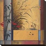 Partición de bambú Reproducción en lienzo de la lámina por Don Li-Leger