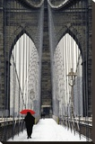 Brooklyn Bridge Meets Red Reproduction transf&#233;r&#233;e sur toile par Michael Cahill