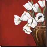 Tulipes sur fond rouge Reproduction transférée sur toile par Ann Parr