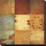Nueve recuadros de amapolas Reproducción en lienzo de la lámina por Don Li-Leger