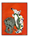 """Clown and Elephant,""June 1, 1932 Giclee Print by W. P. Snyder"