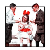 """Two Boys Bringing Girl Ice Cream,""July 5, 1924 Giclee Print by George Brehm"